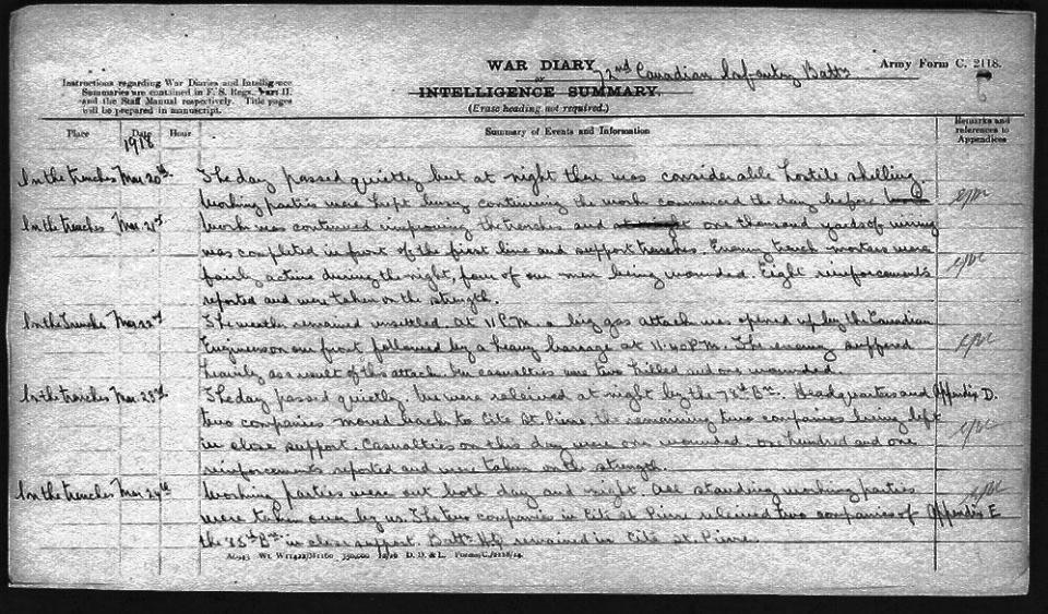 War Diary, 1918.