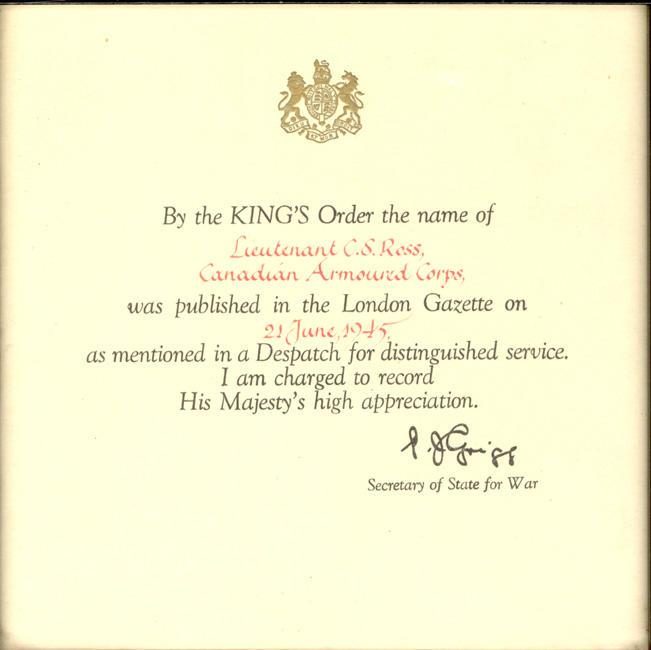 Acknowledgement from the Secretary of War  Indicatinging Colin Sewell Ross Distinguished Service to The King of England (Son of James Ross refer to WWI collection)   June 21, 1945