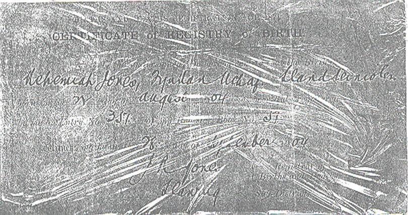 picture, Jones,David birth certificate, August 1904.
