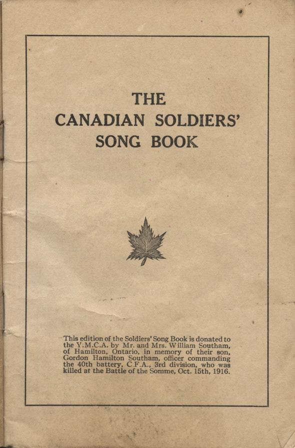 William Daniel Boon. Canadian Soldiers Songbook. Page 1.