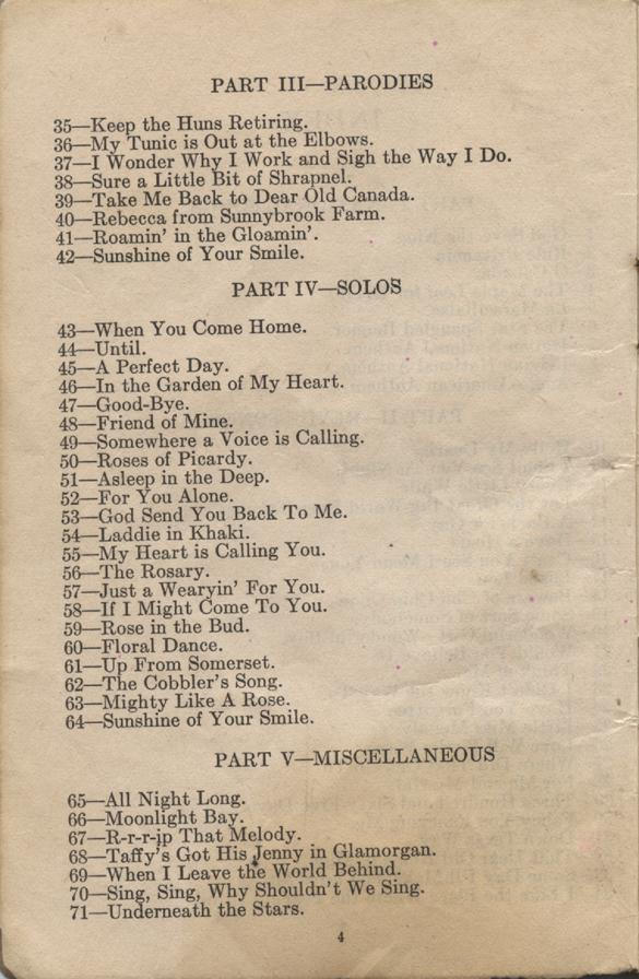 William Daniel Boon. Canadian Soldiers Songbook. Page 4.