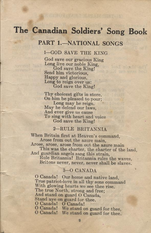 William Daniel Boon. Canadian Soldiers Songbook. Page 9.