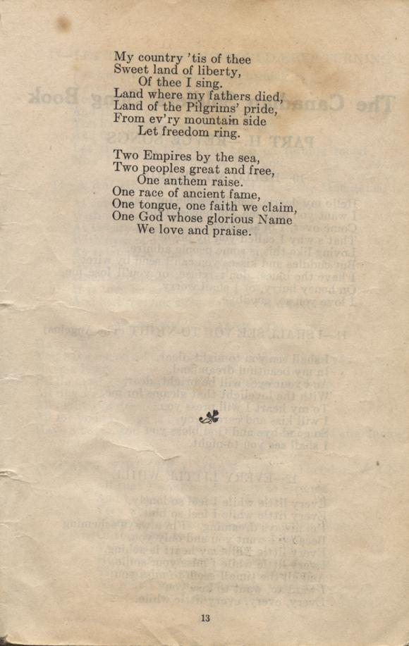 William Daniel Boon. Canadian Soldiers Songbook. Page 13.