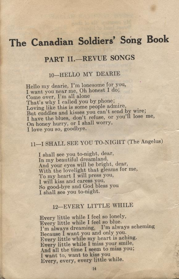 William Daniel Boon. Canadian Soldiers Songbook. Page 14.