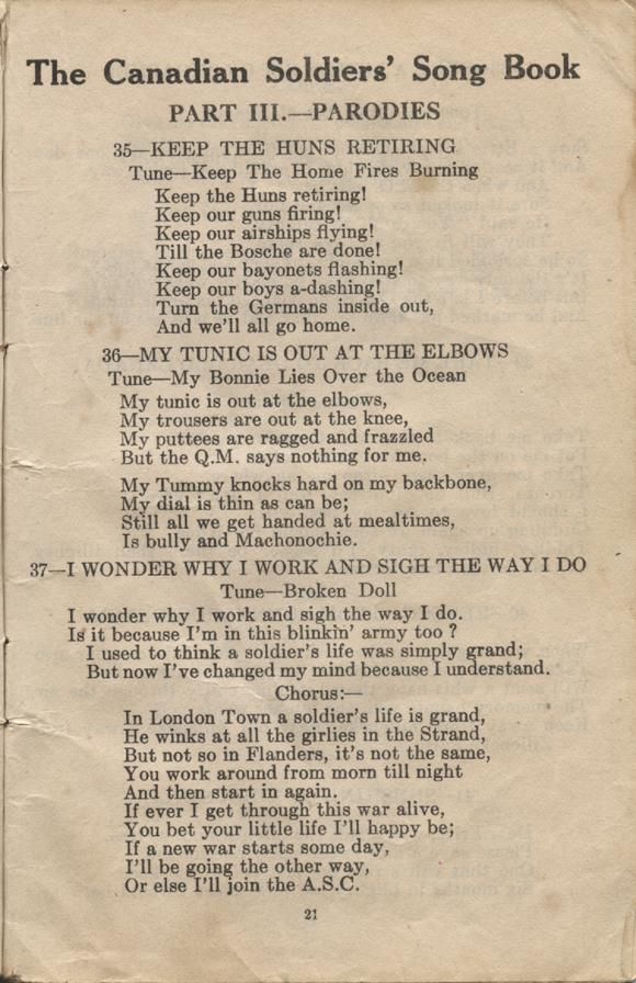 William Daniel Boon. Canadian Soldiers Songbook. Page 21.