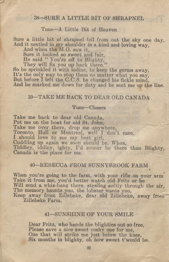 William Daniel Boon. Canadian Soldiers Songbook. Page 22.