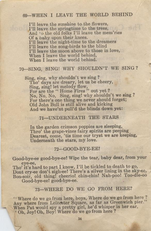 William Daniel Boon. Canadian Soldiers Songbook. Page 34.