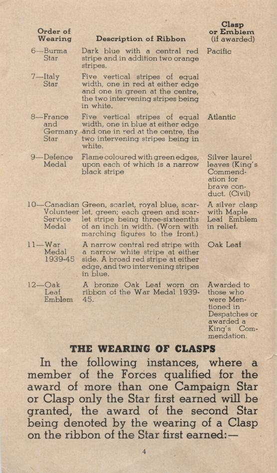 William Daniel Boon. Medal Booklet. Page 3.