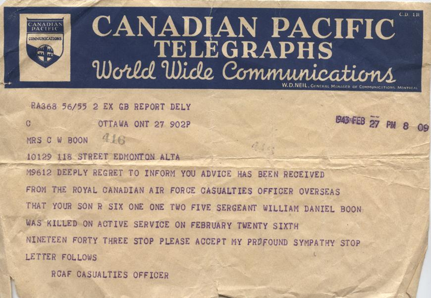 William Daniel Boon. February 27, 1943. Telegram.