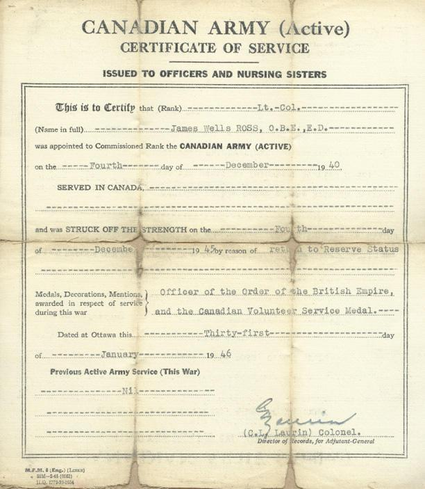 Canadian Army (Active) Certificate of Service From  December 4, 1940 - December 4, 1946 Dated and Signed  January 31, 1946