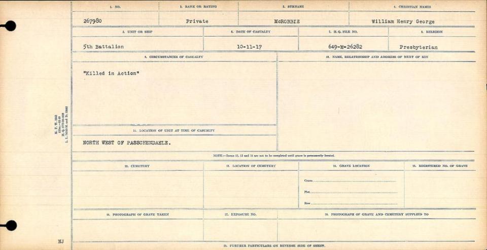 McRobbie, William Circumstance of Death Register