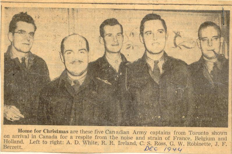 Newspaper clipping, Colin Ross (centre) was one of five officers profiled when they were granted leave to come to Canada for Christmas. December 16,1944