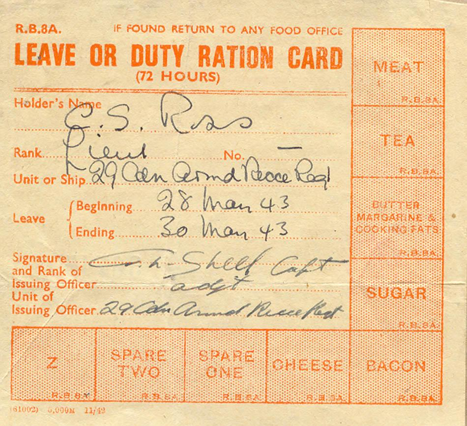 Leave or Duty Ration Card