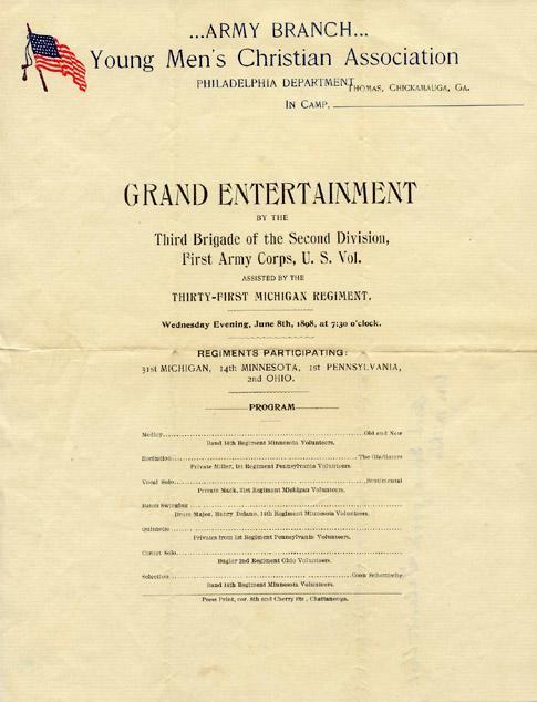 Young Men's Christian Association Philadelphia - Grand Entertainment June 8th 1898  Front