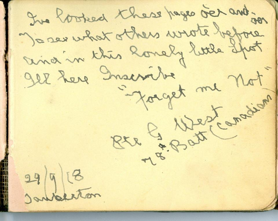 Pte. G. West, September 29, 1918, Tankerton Hosptital, Kent