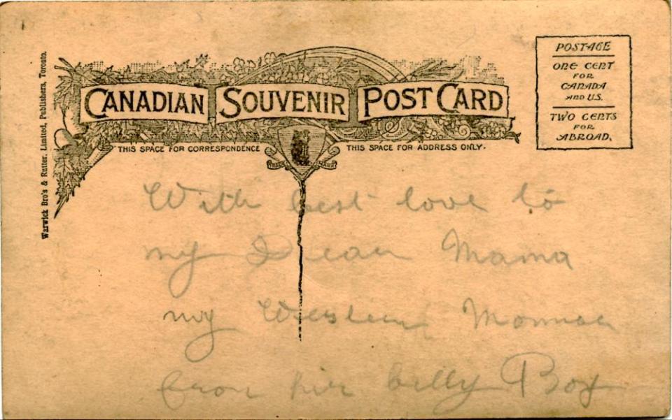 Souvenir postcard, back