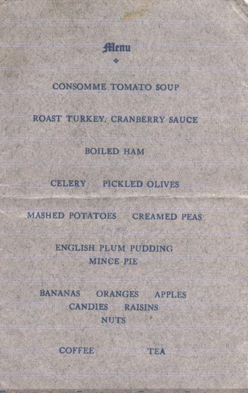 Norris, Louis. January 1, 1916. Dinner Program Menu.