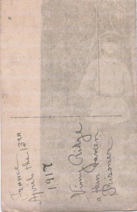 Norris, Louis. April 13, 1917. Back Photograph.