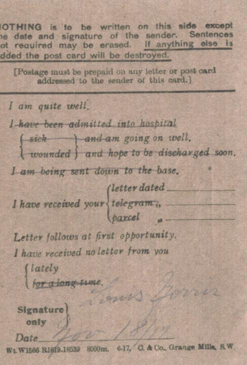 Norris, Louis. November 18, 1917. Back Postcard.