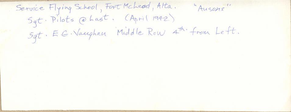 Flying School, April, 1942, back.