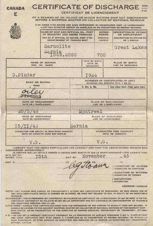 Pinder. Certificate of discharge. 1946