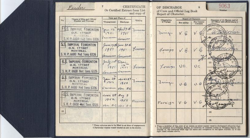 Pinder. discharge certificate. pp.7-8
