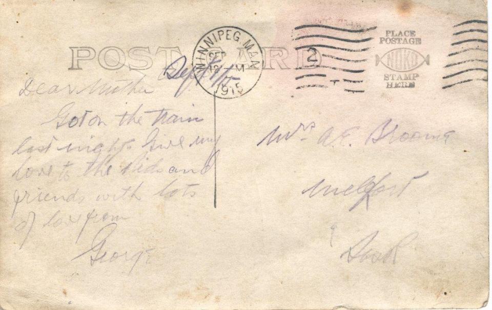 Postcard to Mother Sept. 12, 1915 Back