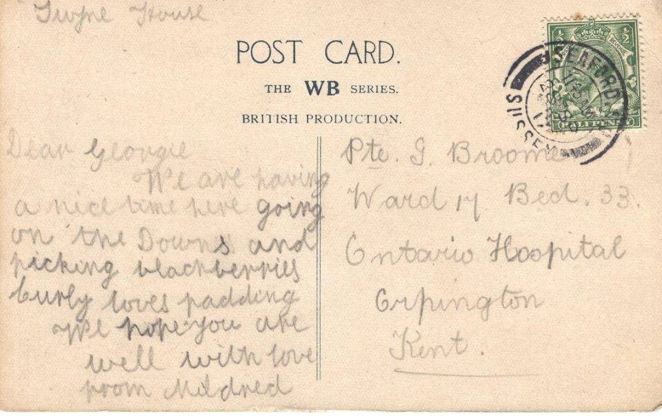 Postcard to Geroge From Mildred Sept. 28, 1917 Back