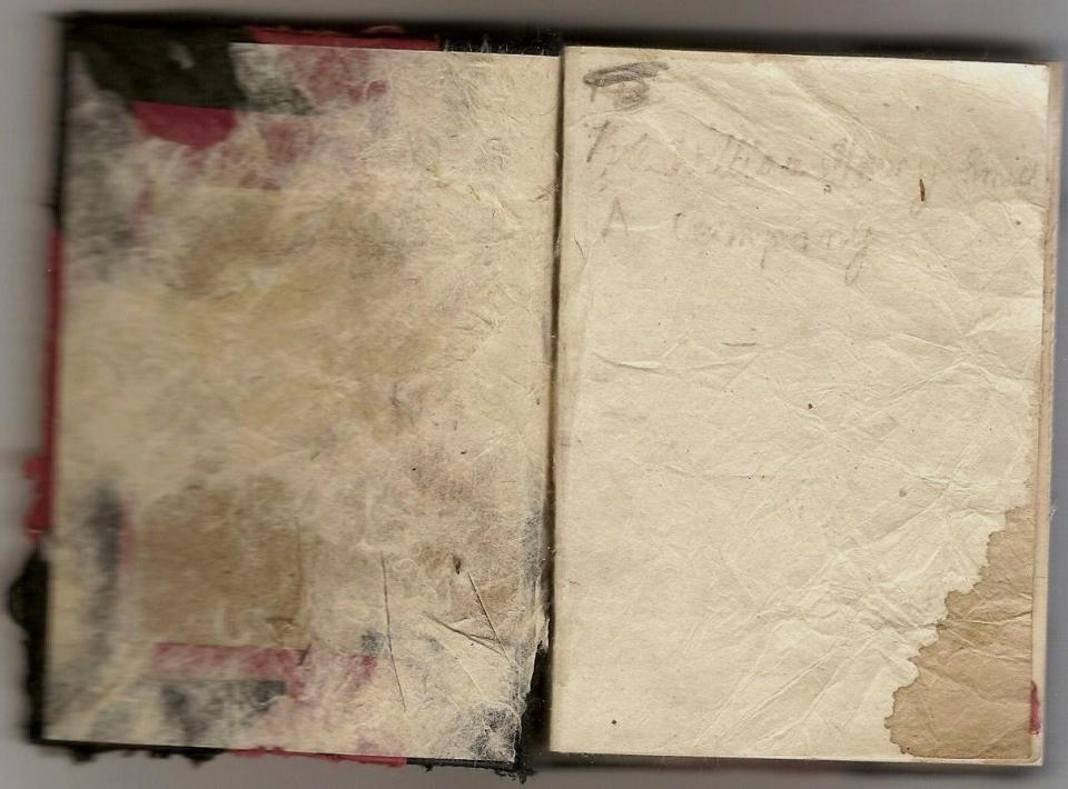 Diary inside cover with inscription:  William Henry Smith, A Company.
