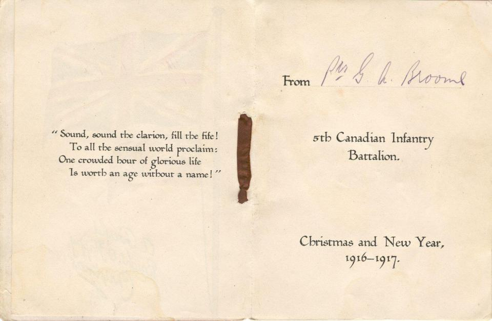 Inside Christmas Card December 1916 #2